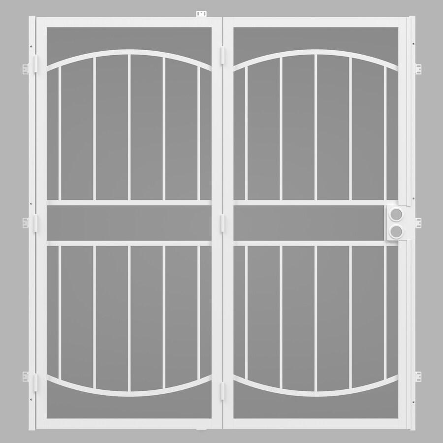 Gatehouse Security Patio Door White Steel Surface Mount Double Security Door  (Common: 64