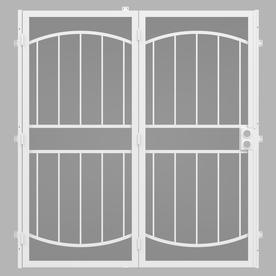 gatehouse security patio door white steel surface mount double security door common 64 - Patio Door Security