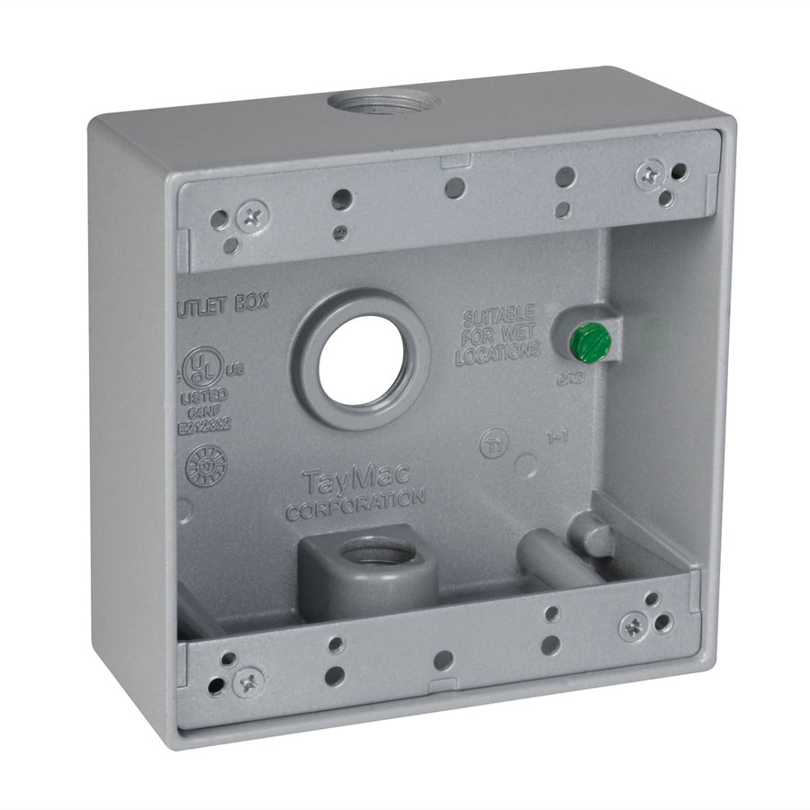 Hubbell TayMac 2-Gang Gray Metal Weatherproof Exterior New Work Standard Square Electrical Box
