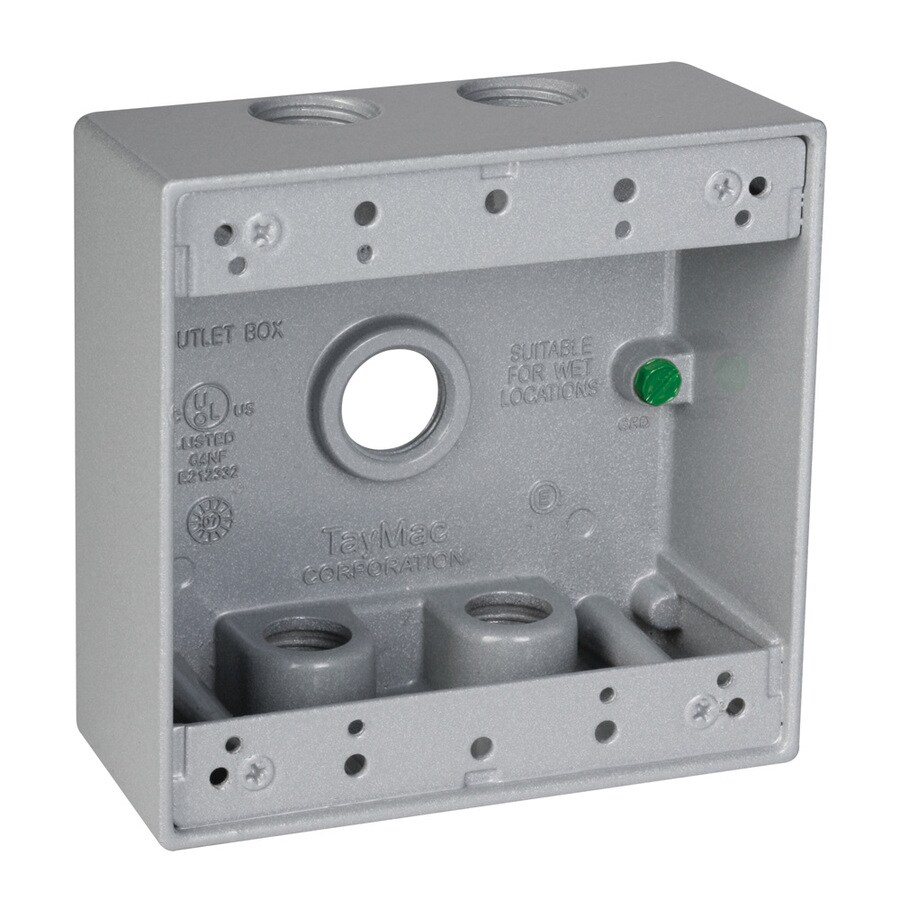 Hubbell TayMac 2-Gang Gray Metal Weatherproof Exterior New Work Standard Rectangular Electrical Box