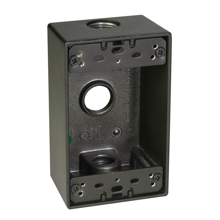 Hubbell TayMac 1-Gang Bronze Metal Weatherproof Exterior New Work Standard Square Electrical Box