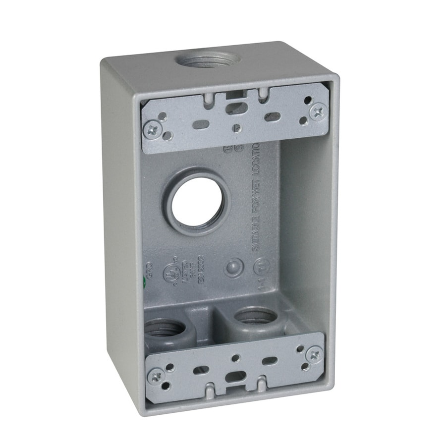 Hubbell TayMac 1-Gang Gray Metal Weatherproof Exterior New Work Standard Square Electrical Box