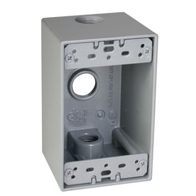 TayMac 1 Gang Gray Metal Weatherproof Exterior New Work Standard Square Electrical Box