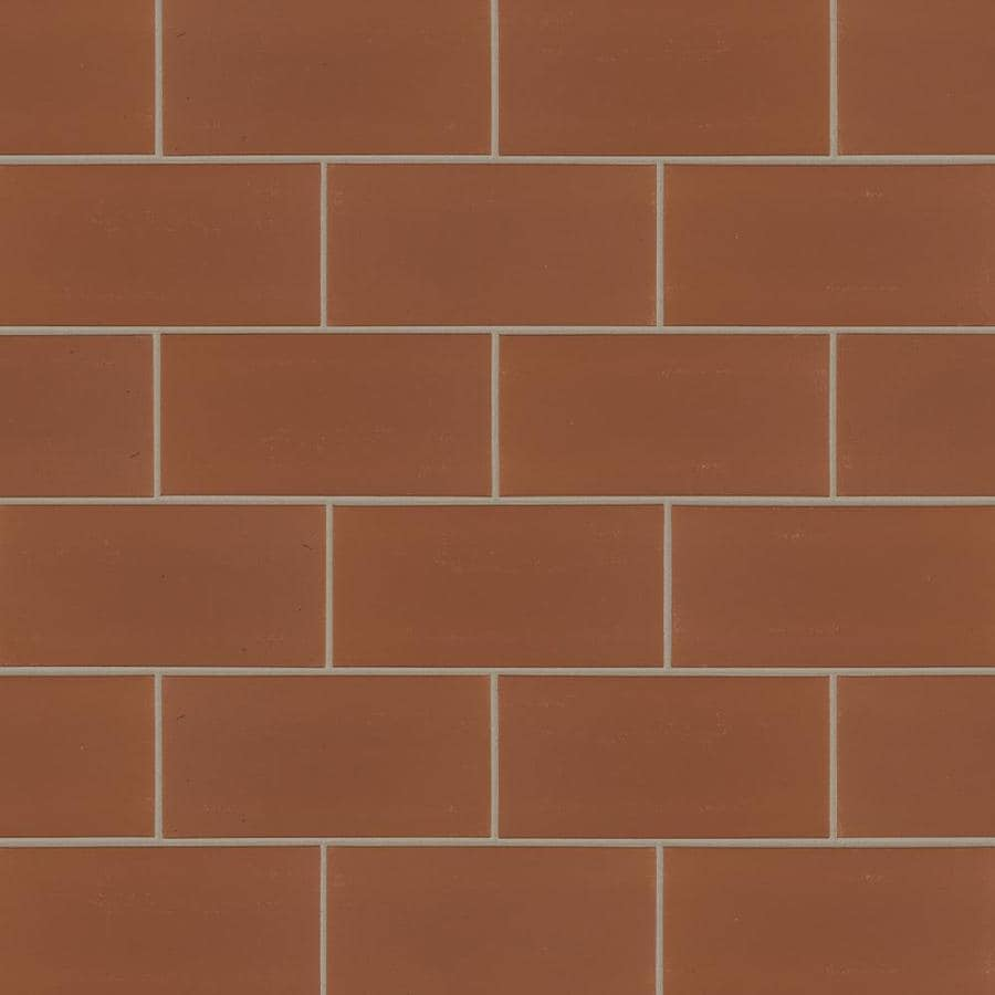American Olean Quarry 50-Pack Canyon Red Ceramic Floor and Wall Tile (Common: 4-in x 8-in; Actual: 3.87-in x 8-in)