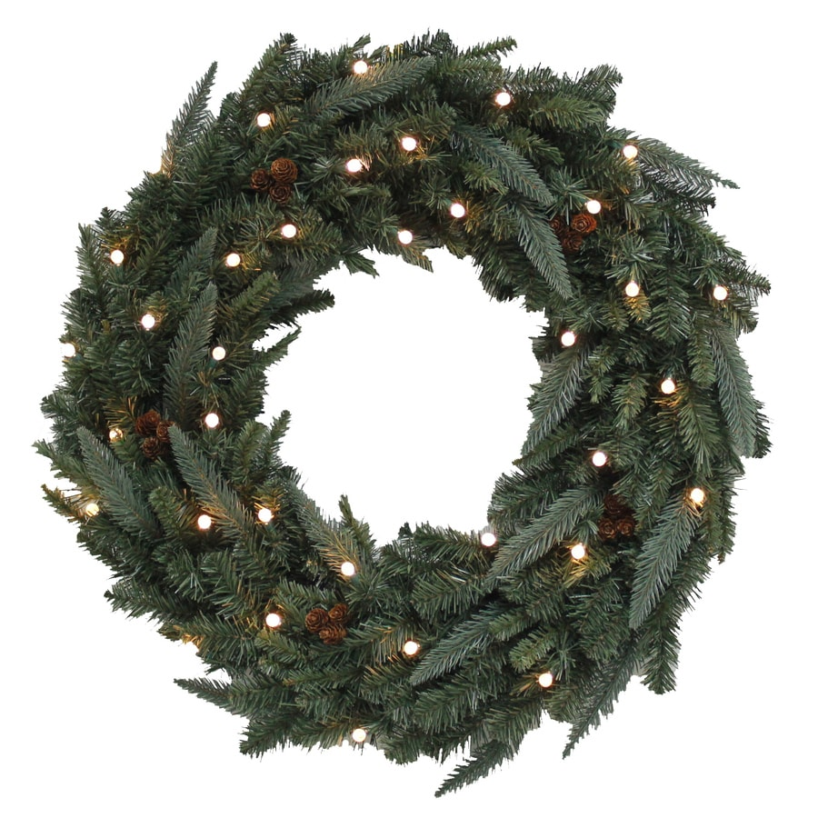 Holiday Living 30-in Pre-Lit Indoor/Outdoor Green Fraser Fir Artificial Christmas Wreath with Clear Lights
