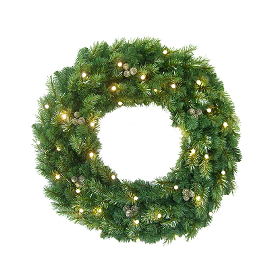 Holiday Living 30-in Indoor/Outdoor Green Artificial Christmas Wreath with 35-Count Clear LED Lights