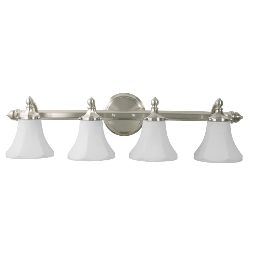 bathroom lighting fixtures brushed nickel shop pfister 4 light brushed nickel bathroom 22183