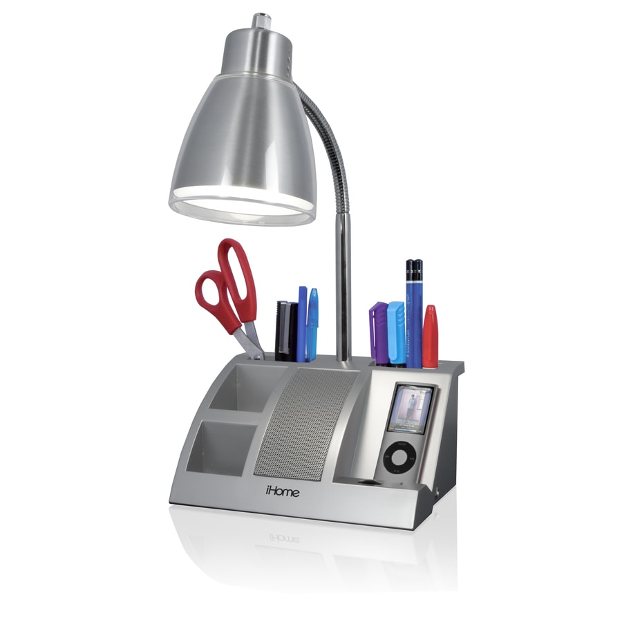 Ihome 11 1 2 In Adjule Silver Desk Lamp With Metal Shade