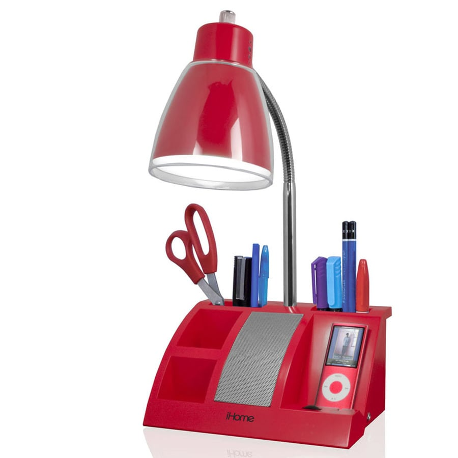 Ihome 11 1 2 In Adjule Red Desk Lamp With Plastic Shade