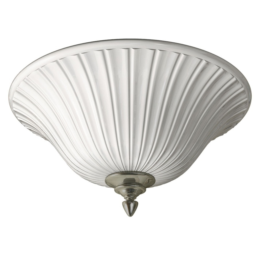 Portfolio 17.71-in W Brushed Nickel Ceiling Flush Mount Light