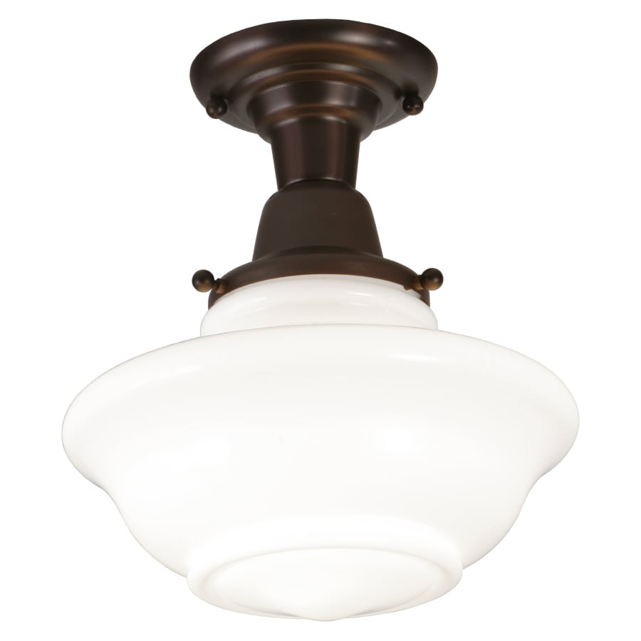 allen + roth 12-in W Oil Rubbed Bronze Frosted Glass Semi-Flush Mount Light