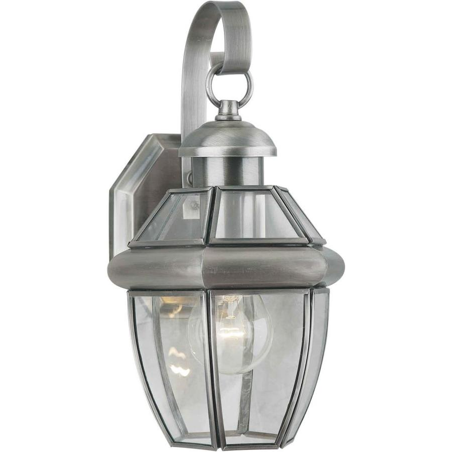 12-in H Antique Pewter Outdoor Wall Light