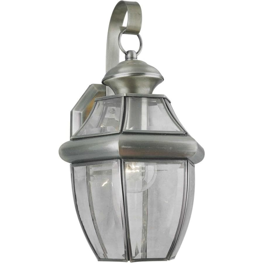 14-in H Antique Pewter Outdoor Wall Light