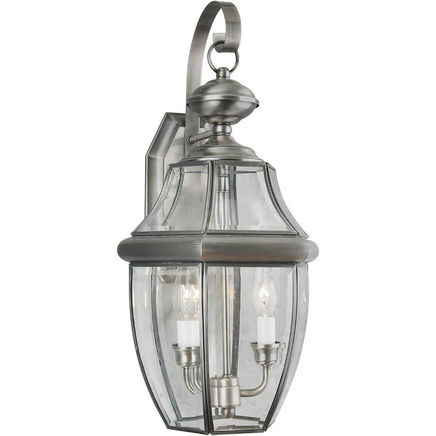 21-in H Antique Pewter Outdoor Wall Light