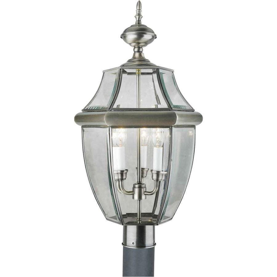 24-in H Antique Pewter Post Light