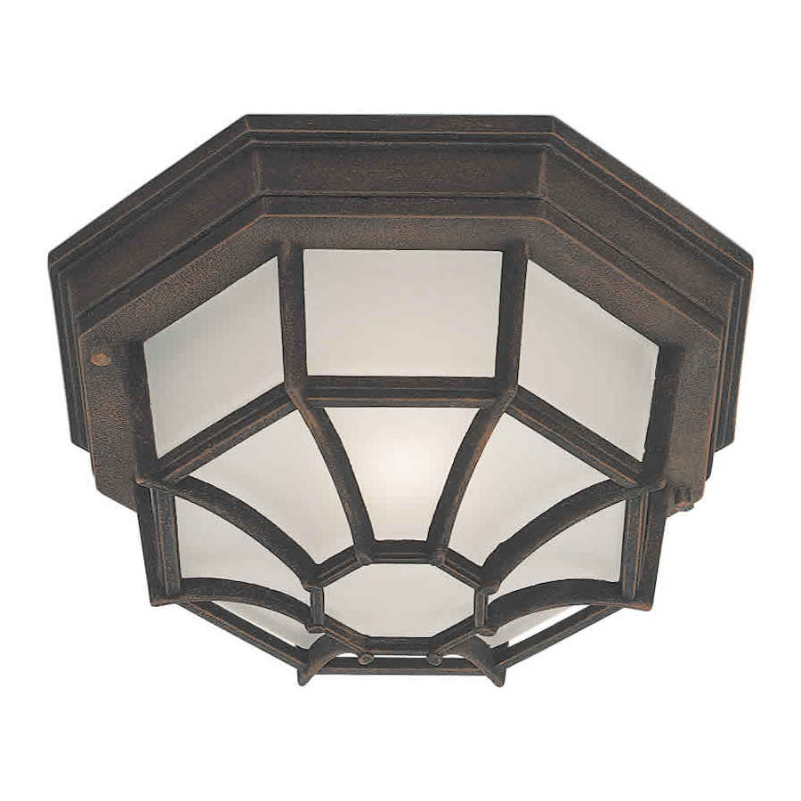11.5-in W Painted Rust Outdoor Flush-Mount Light