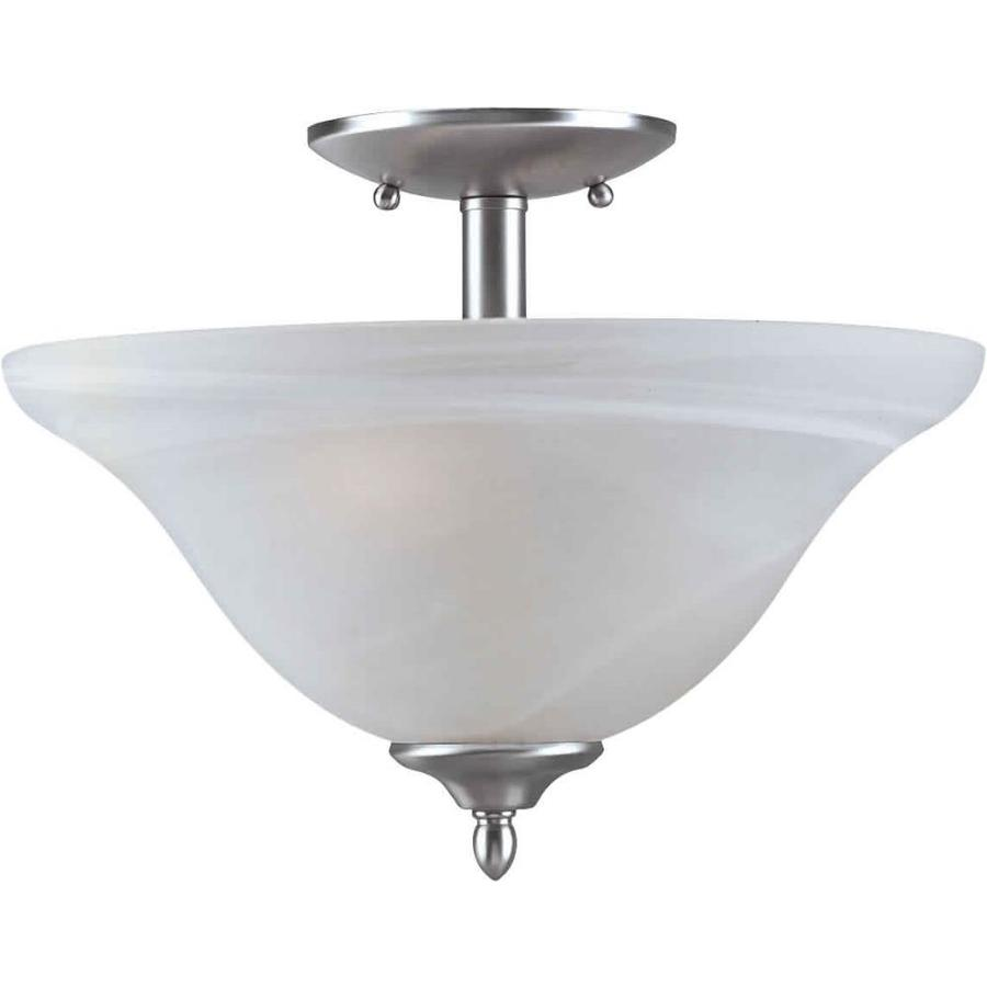 13-in W Brushed Nickel Alabaster Glass Semi-Flush Mount Light