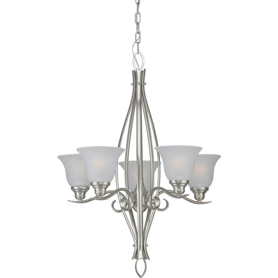 Shandy 23-in 5-Light Brushed Nickel Candle Chandelier