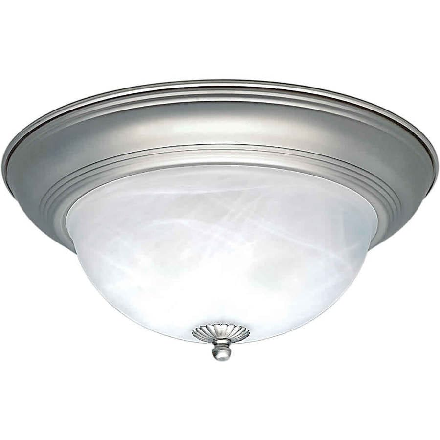 11.75-in W Brushed Nickel Standard Flush Mount Light
