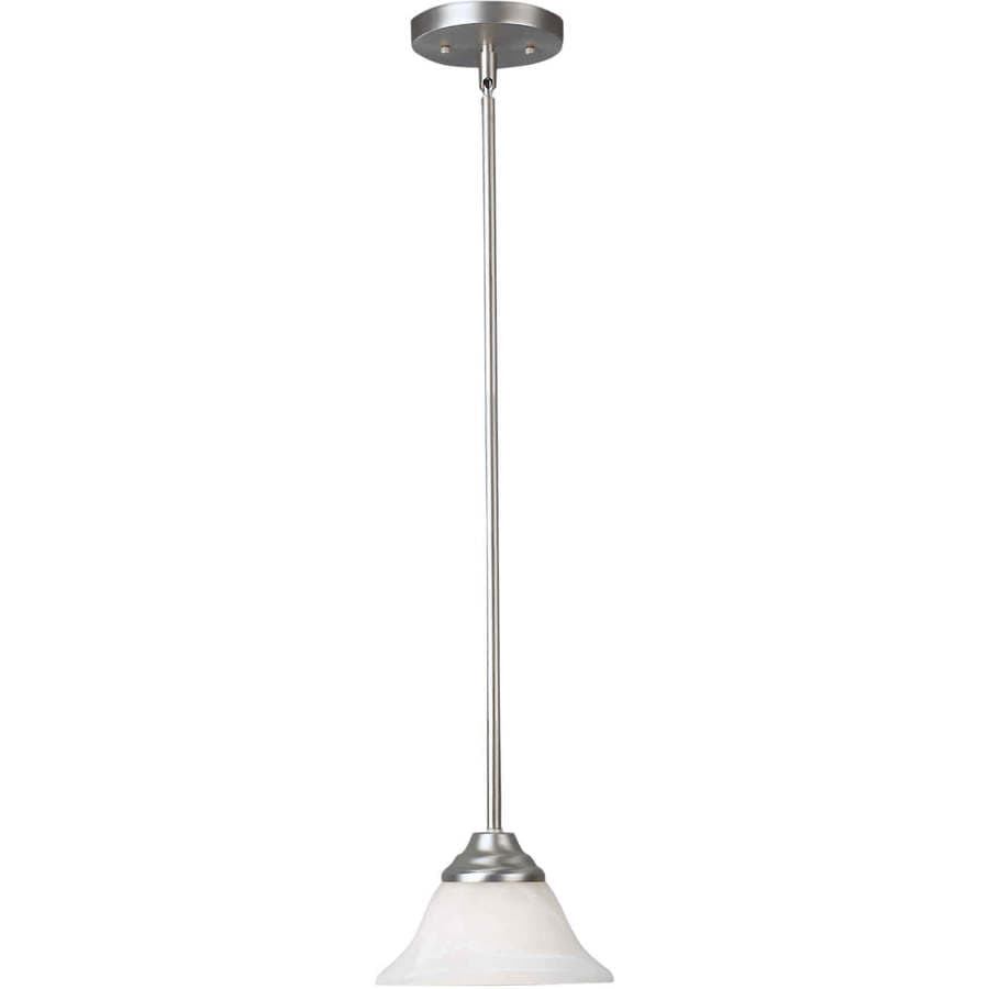 Shandy 7-in Brushed Nickel Mini Marbleized Glass Pendant