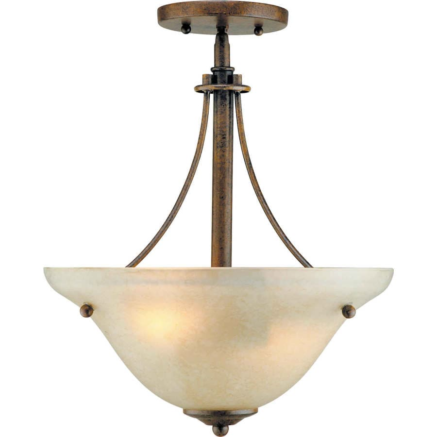14-in W Chestnut Tea-Stained Glass Semi-Flush Mount Light
