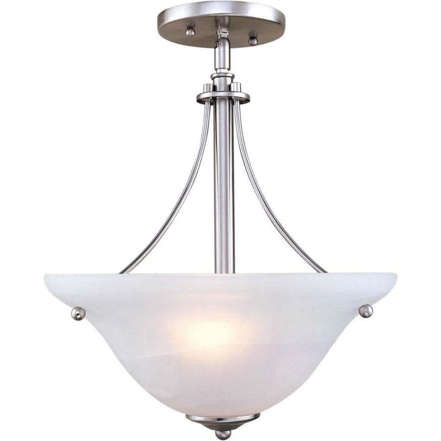 14-in W Brushed Nickel Marbleized Semi-Flush Mount Light