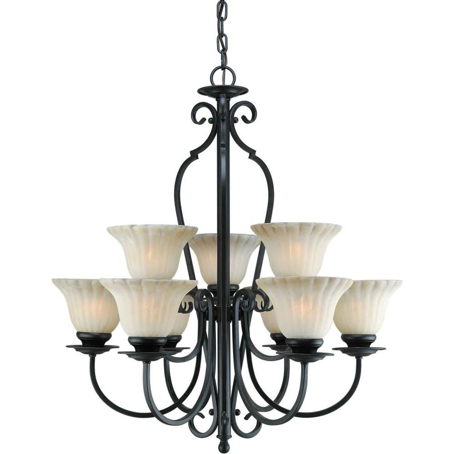 Shandy 27-in 9-Light Bordeaux Tinted Glass Tiered Chandelier