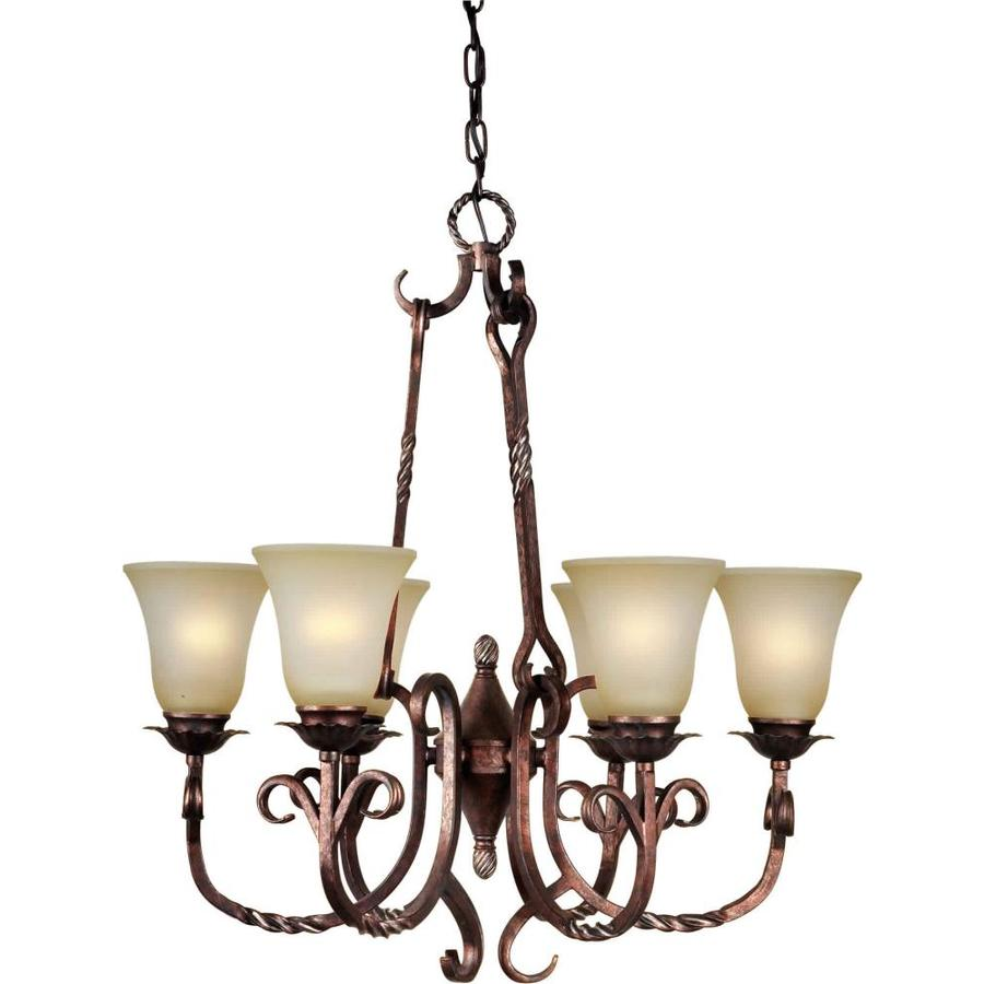 Shandy 26-in 6-Light Black Cherry Tinted Glass Candle Chandelier