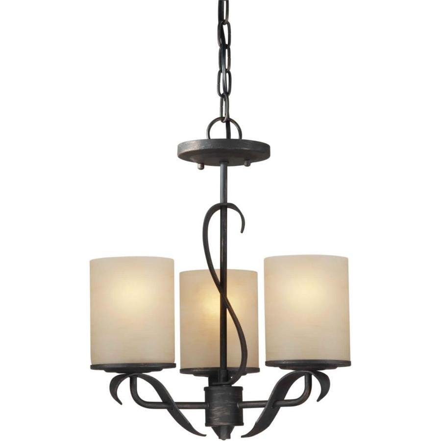 Shandy 15-in 3-Light Bordeaux Tinted Glass Candle Chandelier