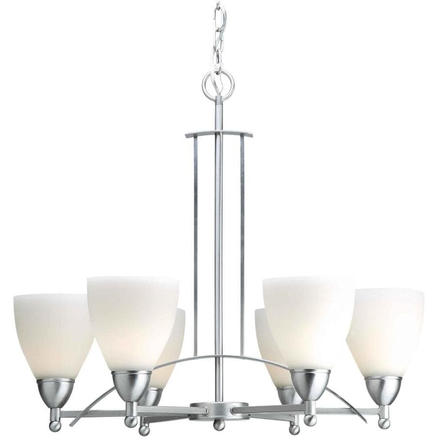 Shandy 24-in 6-Light Brushed Nickel Candle Chandelier