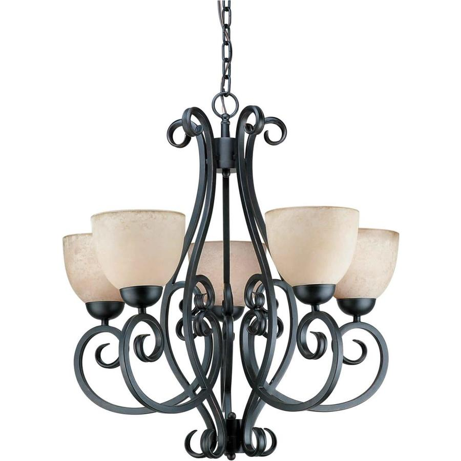 Shandy 26-in 5-Light Bordeaux Tinted Glass Candle Chandelier