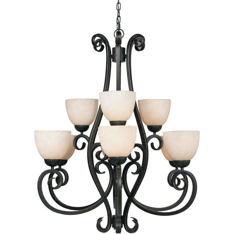 Shandy 33-in 9-Light Bordeaux Tinted Glass Tiered Chandelier