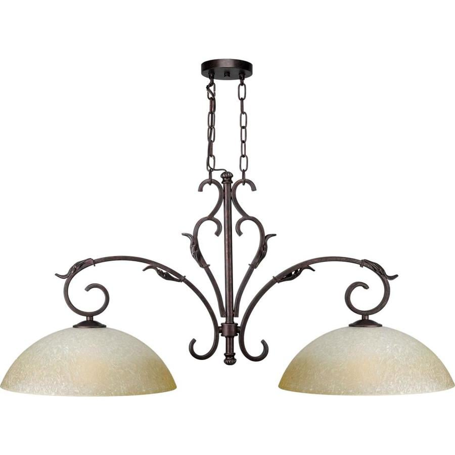 Shandy 10-in W 2-Light Black Cherry Kitchen Island Light with Tinted Shade