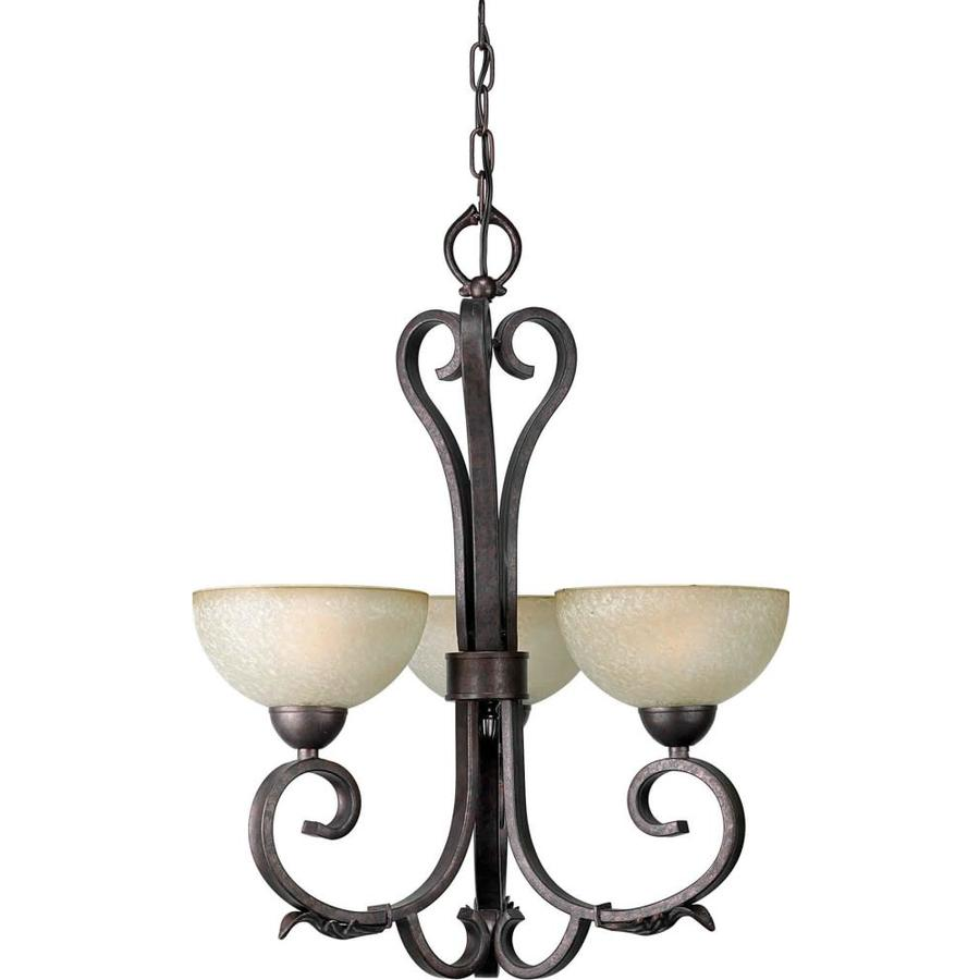 Shandy 19-in 3-Light Black Cherry Tinted Glass Candle Chandelier