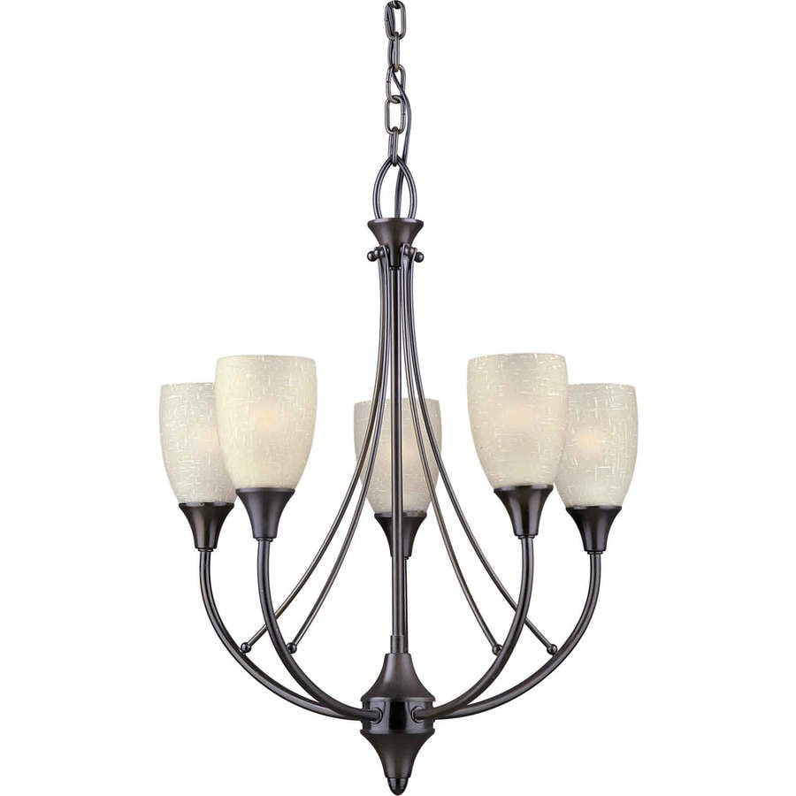 Shandy 18-in 5-Light Antique Bronze Tinted Glass Candle Chandelier