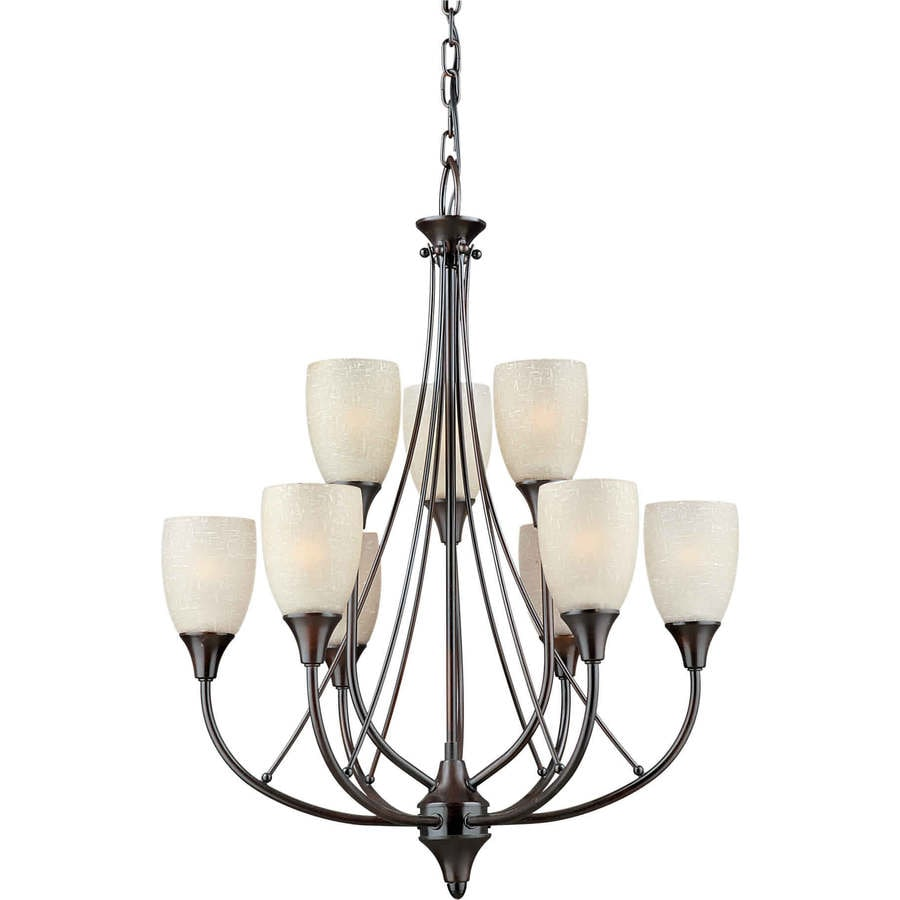 Shandy 21-in 9-Light Antique Bronze Tinted Glass Tiered Chandelier