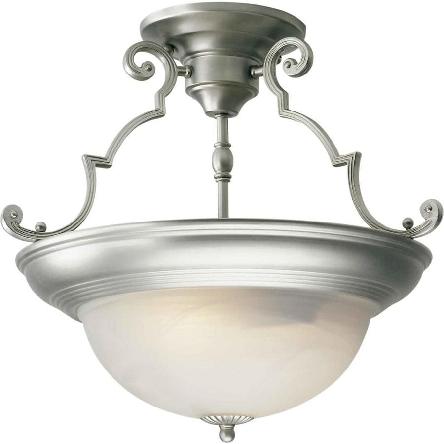 15-in W Brushed nickel Marbleized Semi-Flush Mount Light