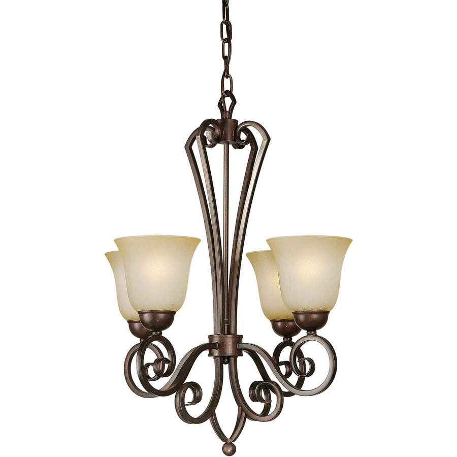 Shandy 21-in 4-Light Black Cherry Tinted Glass Candle Chandelier