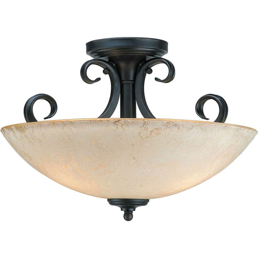 15.75-in W Bordeaux Tea-Stained Glass Semi-Flush Mount Light
