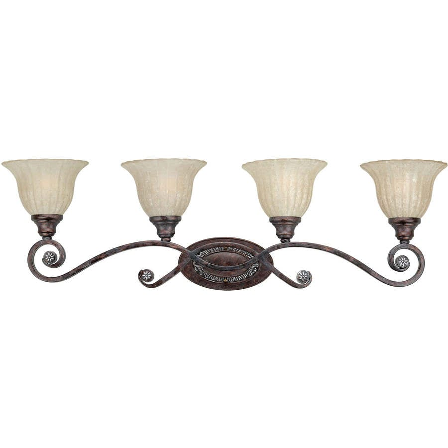 4-Light Shandy Rustic Spice Bathroom Vanity Light