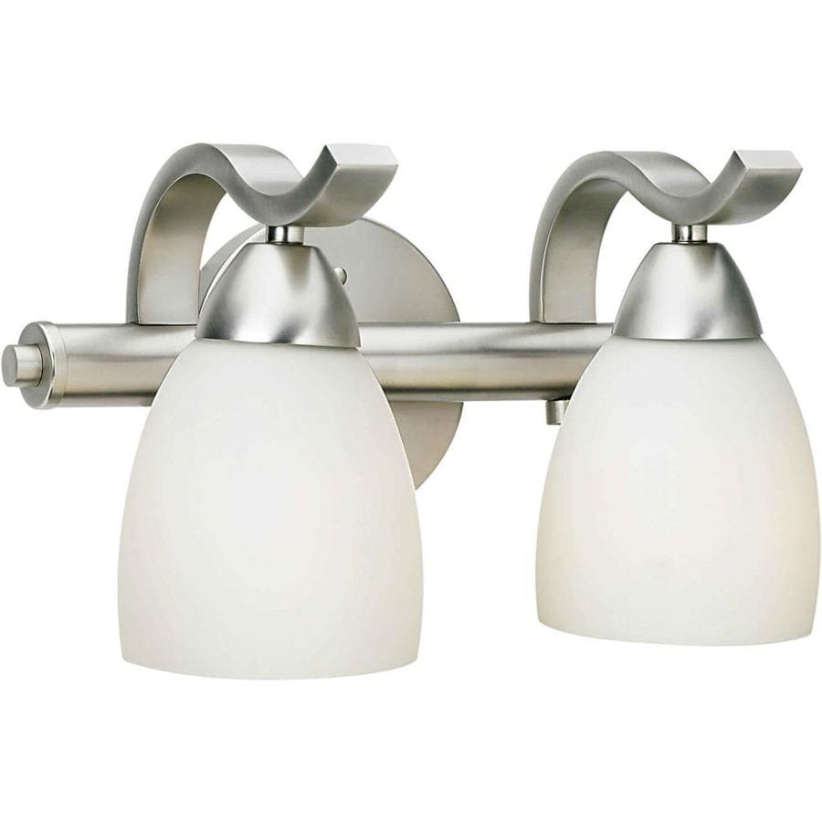 Shandy 2 light 12 in brushed nickel vanity light at - 8 light bathroom fixture brushed nickel ...