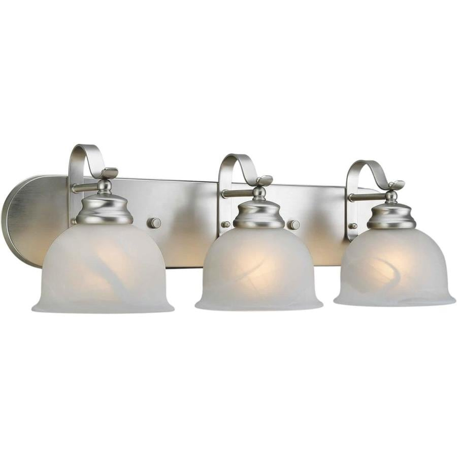 Shop shandy 3 light 24 in brushed nickel vanity light at for Brushed nickel bathroom lighting fixtures