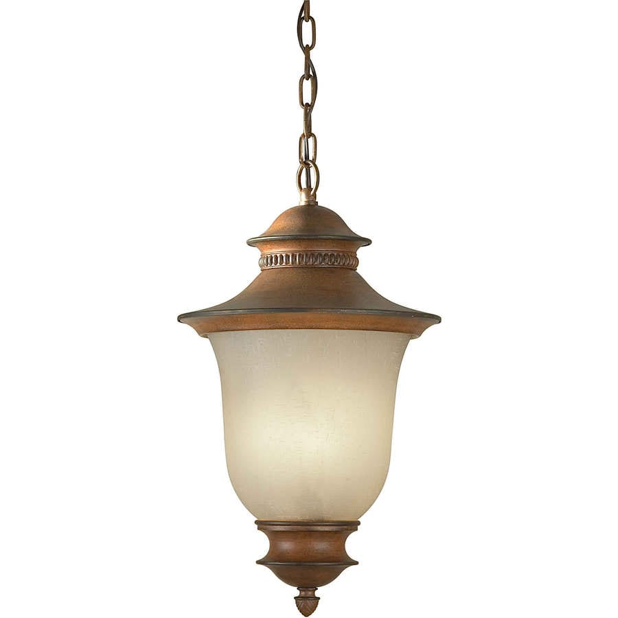 Outdoor Hanging Lanterns Lowes: Ptoliporthus 23-in Rustic Sienna Outdoor Pendant Light At