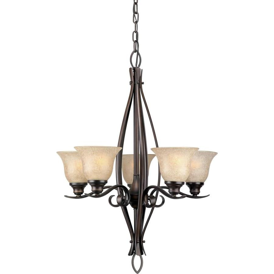 Shandy 23-in 5-Light Antique Bronze Tinted Glass Candle Chandelier