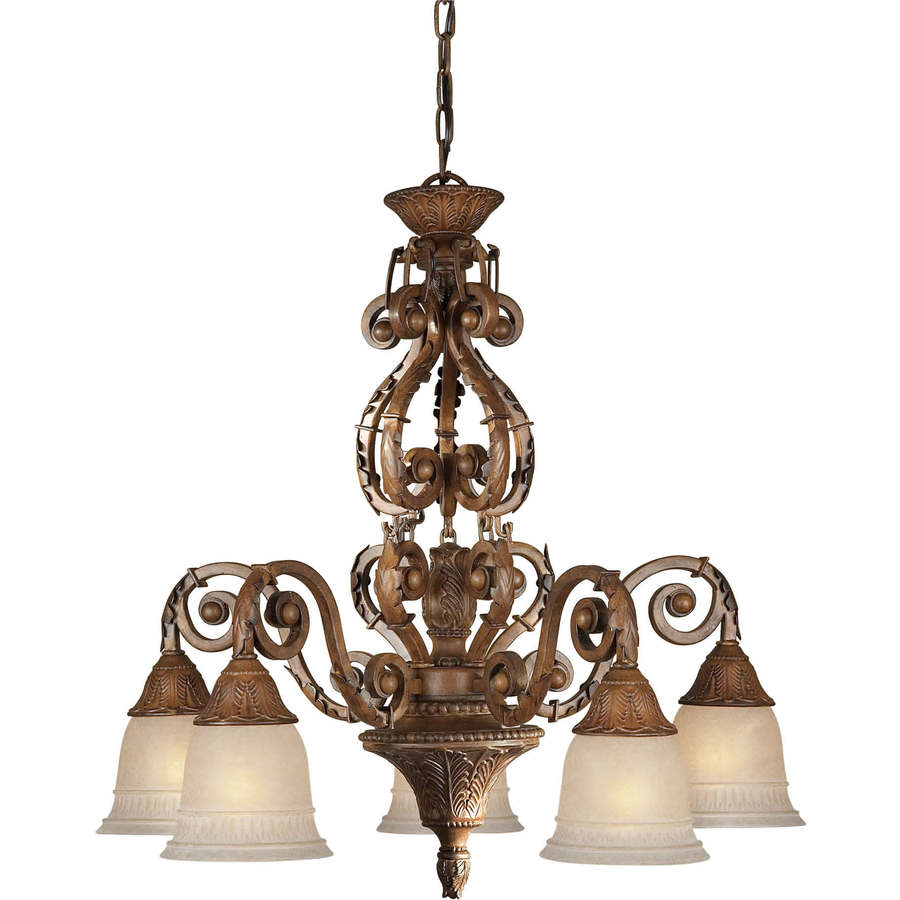 Shandy 26-in 5-Light Rustic Sienna Tinted Glass Candle Chandelier