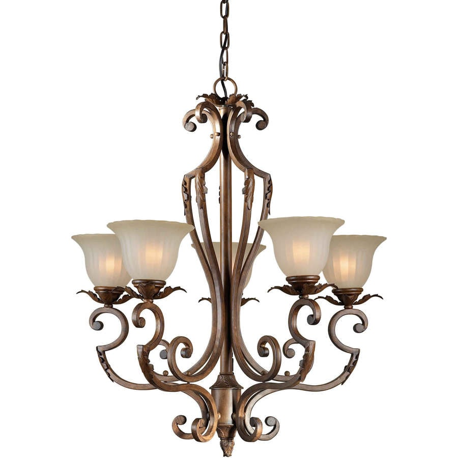 Shandy 28-in 5-Light Rustic Sienna Tinted Glass Candle Chandelier