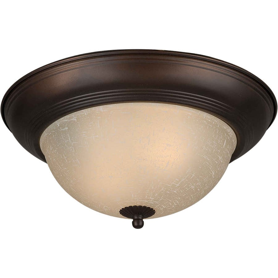 11.75-in W Antique Bronze Standard Flush Mount Light