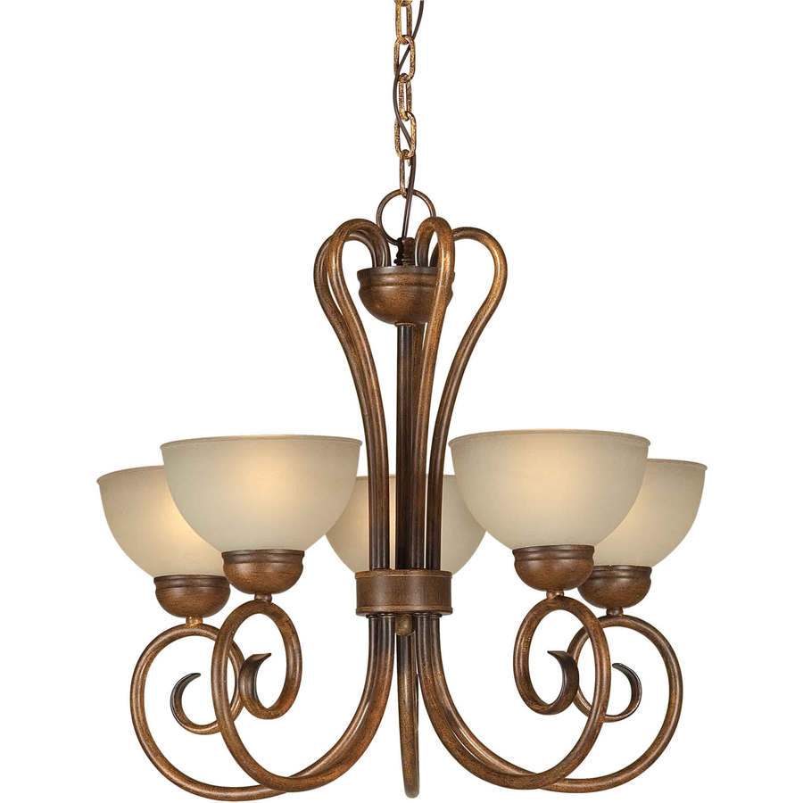 Shandy 20-in 5-Light Rustic Sienna Tinted Glass Candle Chandelier
