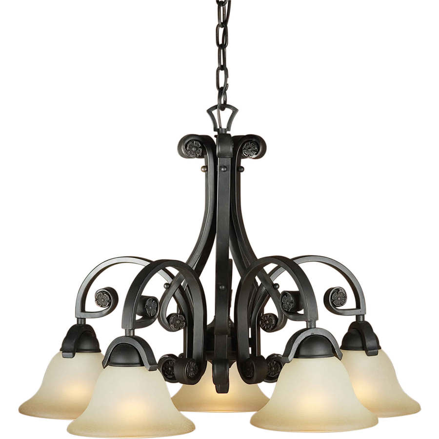 Shandy 24-in 5-Light Bordeaux Tinted Glass Candle Chandelier