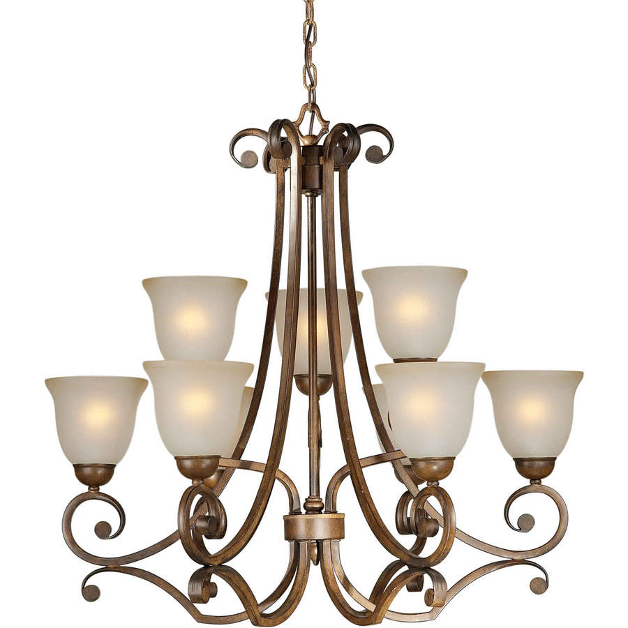 Shandy 30-in 9-Light Rustic Sienna Tinted Glass Tiered Chandelier